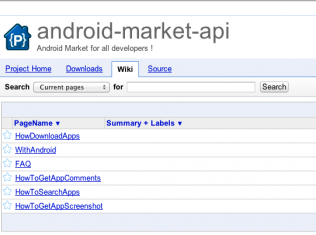Android, Android market API